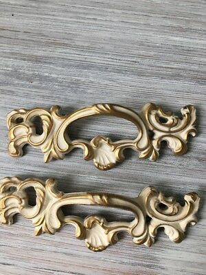 Pair Vintage French Provincial Drawer Pulls Hardware New Old Stock