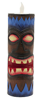 Tiki Totem Tealight Candle Holder with LED Lighted Tealight Candle — Blue
