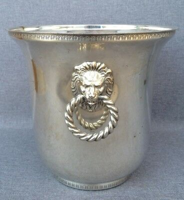 Antique champagne bucket silver plated metal mid-1900's lions heads signed
