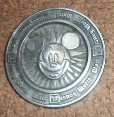 WALT DISNEY WORLD Mickey Mouse PEWTER MEDAL COIN ORLANDO USA 3 1/4""