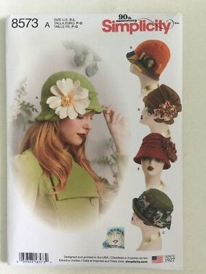 Simplicity 8573 Sewing Pattern Vintage Style Hats Sizes S-L New Uncut