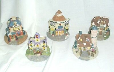 Collectible Lot of 5 Winter Village Resin Houses Cottage Figurines