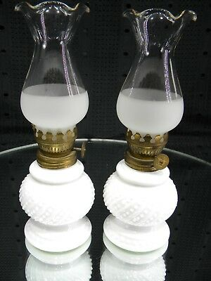 PAIR White Milk Glass Beaded Swirl Oil Lamps With Chimneys