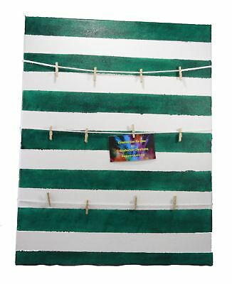 Green and White Striped Photo Canvas