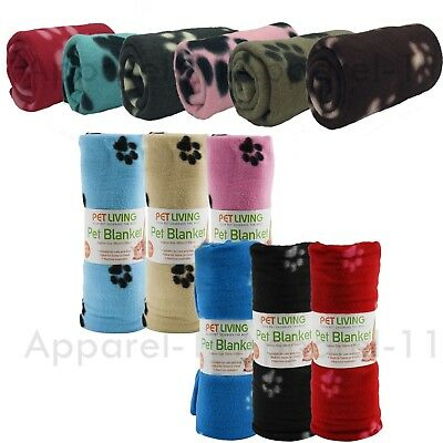 SOFT FLEECE PAW PRINT PET CAR BLANKET DOG PUPPY CAT BED 70 x 73cm & 100 x 150cm