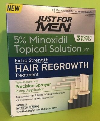 Just For Men Hair Regrowth Treatment, 3 Month Supply, 6 Fluid Ounce - New