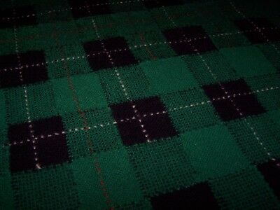 Vintage Hand Knit Wool Checked Plaid Lap Quilt Throw Stadium Emerald Green Black