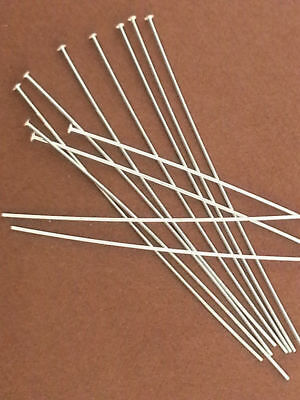 """50x 24 gauge solid sterling silver dome cup flat head pin headpins 2/"""" shiny F21s"""