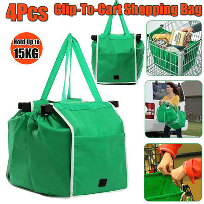 4X Supermaket Grocery Shopping BAG Cart Foldable Reusable Trolley Grab Tote Bags