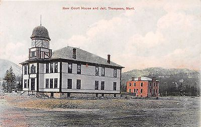 Thompson Montana MT New Court House Courthouse & Jail Buildings Postcard