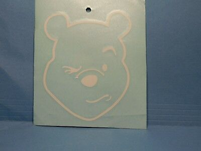 Pooh Bear Winking White Vinyl Window Car Tattoo Decal Sticker 5""