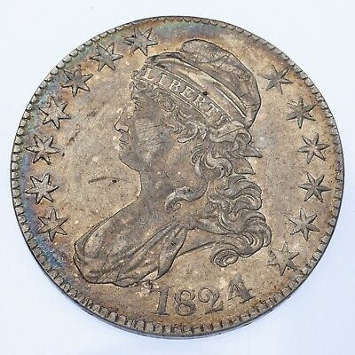 1824 4 Over 4 Capped Bust Silver Half Dollar 50c (Fine, F)