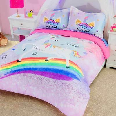 Girls Pink Rainbow Unicorn Comforter Set In Twin Full And Queen