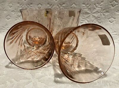 Retro JG Durand ARCOROC FRANCE; Set-of-FOUR Rosaline-Pink Swirl Flared-Glasses