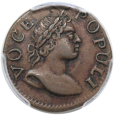 1760 Voce Populi Farthing, Large Letters, Nelson 1, R.5, PCGS XF45, choice