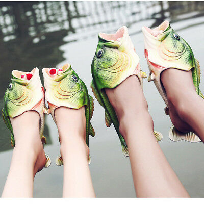 Creative Unisex Fish Shower Slippers Funny Beach Shoes Sandals Bling Flip Flops*