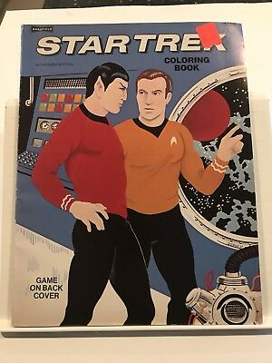 Star Trek Coloring Book 1975 Authorized Edition Game on Cover 4 Pages Colored