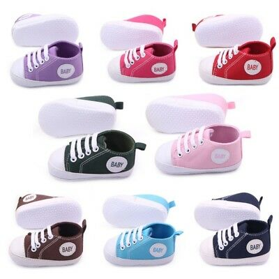 Newborn to 12Months Toddler Baby Boy Girl Lace Up Sneakers Soft Sole Crib Shoes