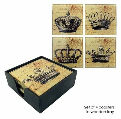 DRINK COASTERS Set Of 4 in Wooden Box Crowns Home Decor