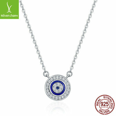 925 Sterling Silver Charm Evil Eye Necklace Turkey Pendant Women Girls Jewelry