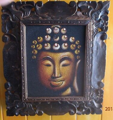 HAND CARVED WOODEN ANTIQUE FRAME HAND PAINTED BUDDHA ACRYLIC ON CANVAS 39cmH