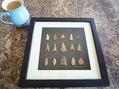 Neolithic Arrowheads in 3D Picture Frame, Authentic Artifacts 4000BC (Q012)