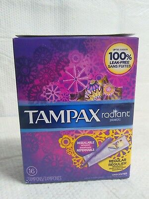 Tampax Radiant 16 Regular Unscented Tampons With Plastic Applicator Leak Free