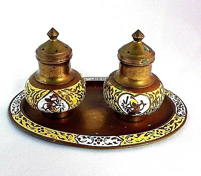 Vintage Brass and Enamel Salt and Pepper Shakers with Tray