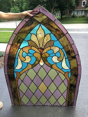 Antique arched stained glass window church (160 year old) 1858