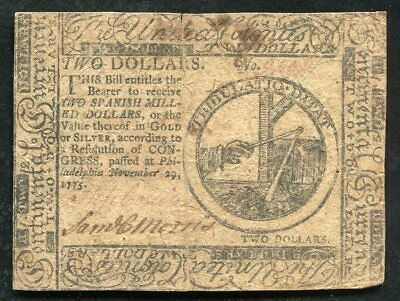 Cc-12 November 29, 1775 $2 Two Dollars Continental Currency Note
