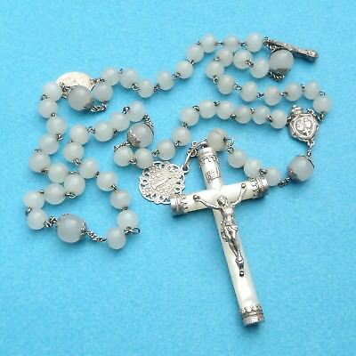 French, Gorgeous Antique Large Rosary. Silver and Mother of Pearl. Cross Rosarie