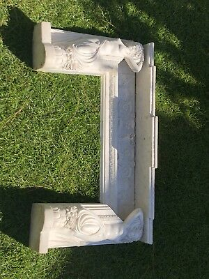 Hand Carved Antique Marble Fireplace Mantel