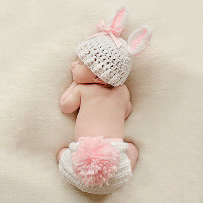 Newborn Infant Baby Crochet Knit Photo Photography Costume Prop Outfit Bunny AUs