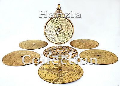 "11""Polished Brass Astrolabe Arabic Globe Marine Navigation Astrological Calendar"