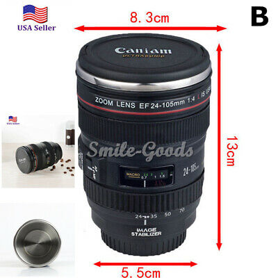 Camera Lens  24-105 Coffee Travel Mug Thermos Stainless Steel, Leak-Proof Lid#o