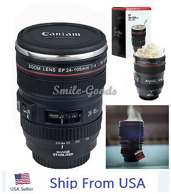 Caniam Camera Lens EF 24-105mm Stainless Steel Travel Tea Coffee Mug Cup#o