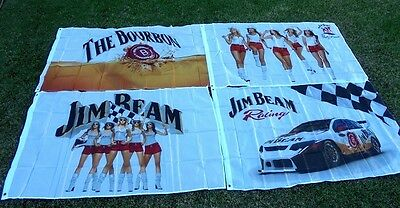 "4 New Different Designs ""jim Beam"" Flags Still In Factory Packaging  *free Post"