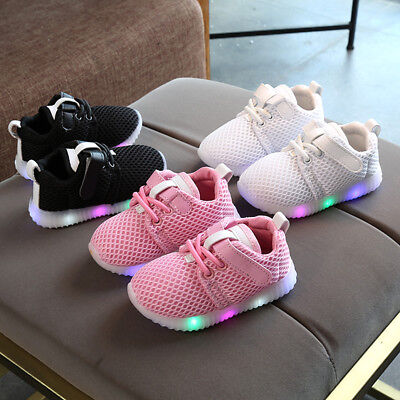 Baby Boys Girls LED Shoes Kids Light Up Luminous Trainers Casual Sport Sneakers