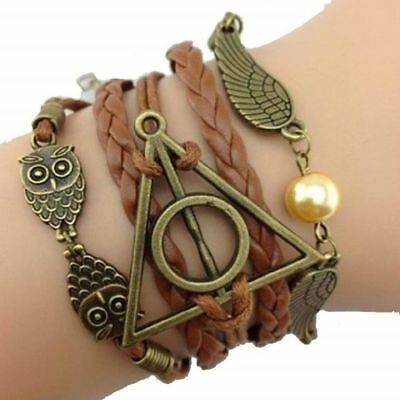 Golden Snitch and Owls Bracelet Deathly Hallows Bracelet Friendship Bracelet