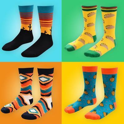 Men Cotton Happy Socks Warm Gradient Colorful Diamond Casual Dress Socks