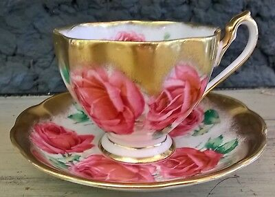 Queen Anne Huge Red Roses Thick Gold Tea Cup and Saucer Set