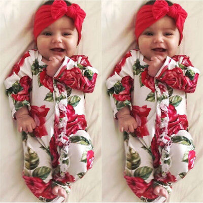 Newborn Infant Kids Baby Girl Bodysuit Romper Jumpsuit Outfit Boy Clothes Set AU