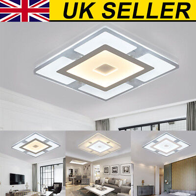 Modern Simple Square Acrylic LED Ceiling Light Living Room Bedroom Home Lamp
