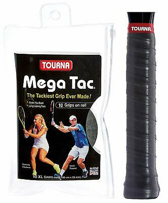 Tourna Mega Tac 10 Pack Tennis Badminton XL Overgrip - Black - The Tackiest Grip