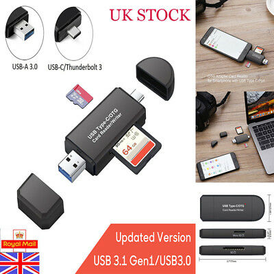 USB 3.0 Type SD/Micro SD T-Flash Card Reader OTG Adapter For Macbook Android