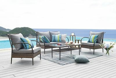 Brown Rattan Garden Furniture Patio Set Outdoor 4 pc Set Chairs Table and Sofa