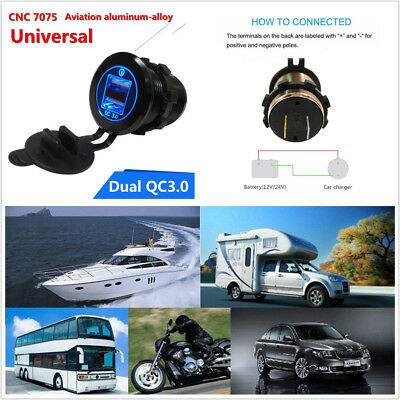 CNC Motorcycle Dual USB QC3.0 Blue LED Smart Quick Charger Socket Power Outlet