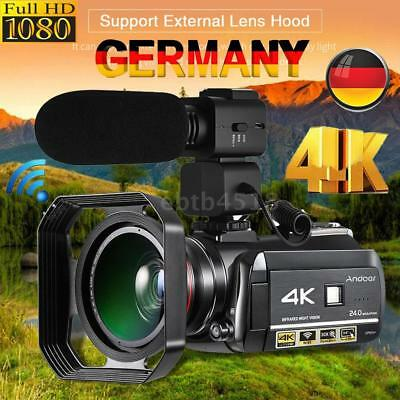 Andoer WiFi 4K UHD 30X ZOOM IR 0.39X Objektiv Digital Video kamera Camcorder DVR
