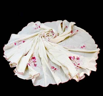 Vintage large round cream & pink embroidered cotton tablecloth 200cm