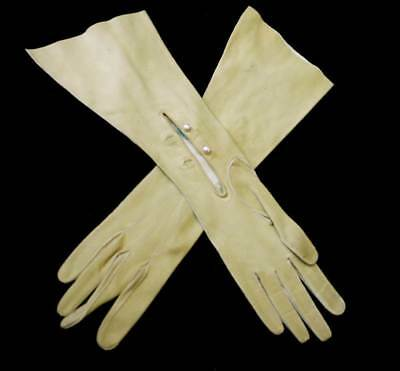 Vintage ultra soft kid suede leather long mustard yellow ladies gloves
